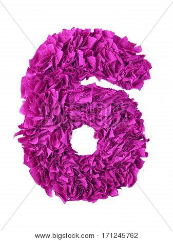 Six. Handmade number 6 from magenta color crepe paper isolated on white background. Set of pink numbers from scraps of paper
