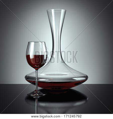 Decanting of red wine on dark floor. 3d rendering