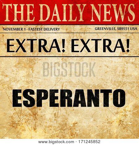 esperanto, article text in newspaper