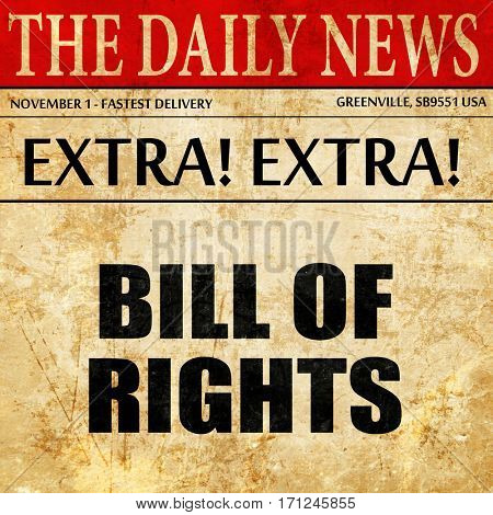 bill of rights, article text in newspaper