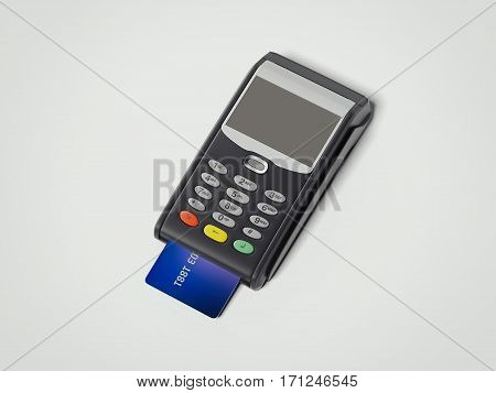 POS portable credit card machine with credit card isolated on white. 3d rendering