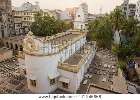 DHAKA, BANGLADESH - FEBRUARY 21, 2014: Exterior of the Armenian Apostolic Church of the Holy Resurrection in Dhaka, Bangladesh.