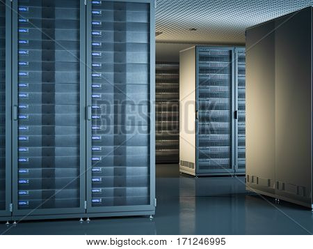Modern interior of server room with black servers. 3d rendering