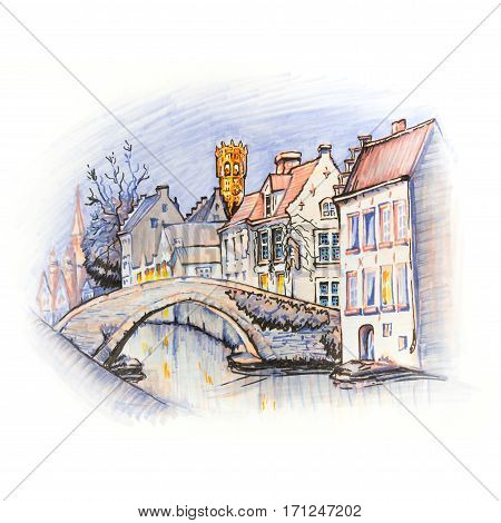 Scenic city view of Bruges canal with beautiful medieval houses, Belgium. Picture made markers