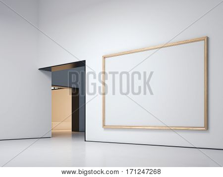White gallery with blank golden frame. 3d rendering