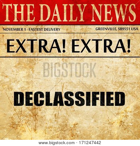 declassified, article text in newspaper