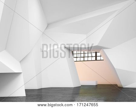 Modern bright gallery with white walls. 3d rendering