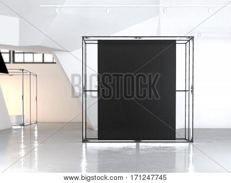 Modern glowing showcase with blank black canvas in modern gallery. 3d rendering