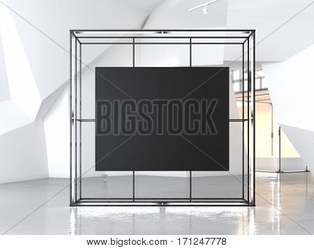 Gowing showcase with blank black canvas in modern gallery. 3d rendering