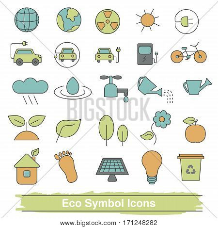 Set of eco line icons. Collection eco design elements. Recycling renewable energy.