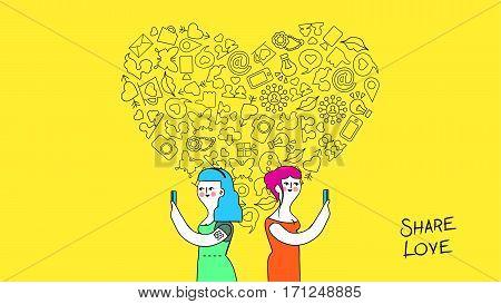 Women Friendship And Love Internet Concept Art