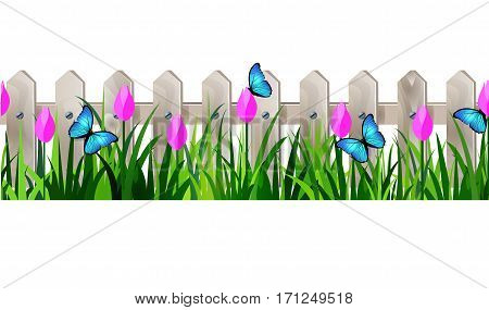 Green Grass and white wooden fance seamless isolated clip art vector on white with rose tulips