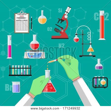 Science Experiment in laboratory. Lboratory equipment, jars, beakers, flasks, microscope, spirit lamp, scales. Biology science education medical vector illustration in flat style