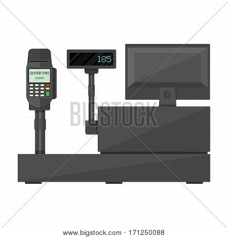 Cash register with display, payment terminal. Customer side. Vector illustration in flat style