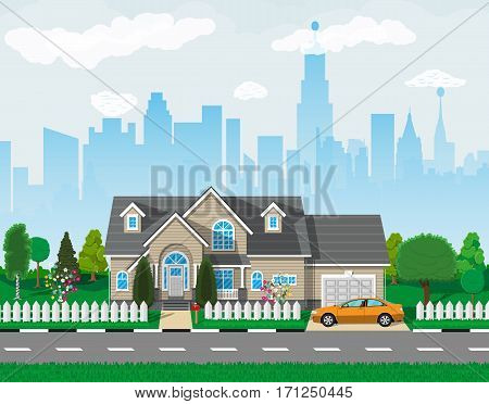 Private suburban house with car, trees, road, sky and clouds. Cityscape. Vector illustration in flat style