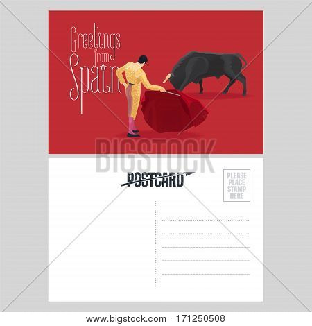 Bull and bullfighter on Spanish arena during bullfighting performance vector postcard template. Visit Spain design element