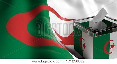 Ballot Box On Algeria Flag Background, 3D Illustration