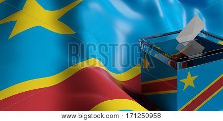 Ballot Box On Congo Flag Background, 3D Illustration