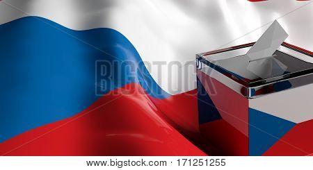 Ballot Box On Czech Republic Flag Background, 3D Illustration