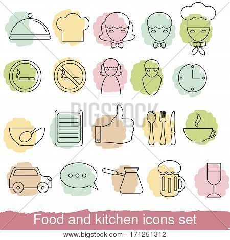 Food and kitchen line icons for mobile web and applications. Collection food and kitchen icons in thin line style.