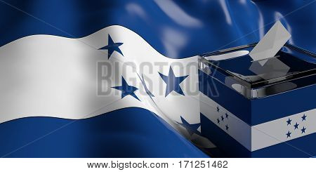 Ballot Box On Honduras Flag Background, 3D Illustration