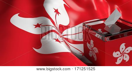 Ballot Box On Hong Kong Flag Background, 3D Illustration
