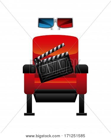 theatre chair with clapboard and 3d glasses over white background. vector illustration