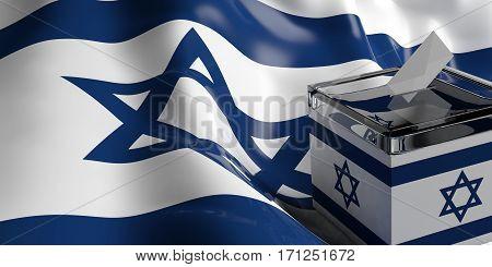 Ballot Box On Israel Flag Background, 3D Illustration