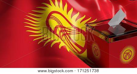 Ballot Box On Kyrgyzstan Flag Background, 3D Illustration