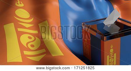 Ballot Box On Mongolia Flag Background, 3D Illustration