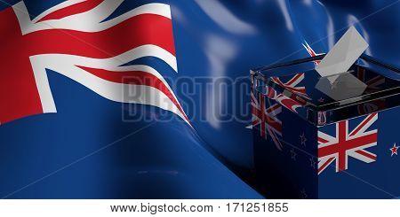 Ballot Box On New Zealand Flag Background, 3D Illustration
