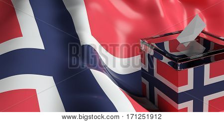 Ballot Box On Norway Flag Background, 3D Illustration