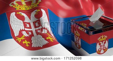 Ballot Box On Serbia Flag Background, 3D Illustration