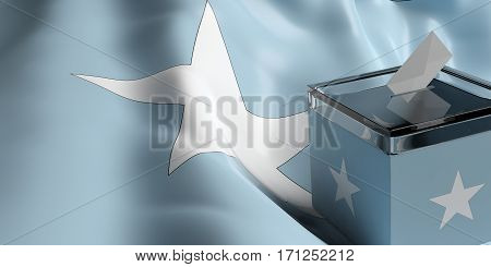 Ballot Box On Somalia Flag Background, 3D Illustration