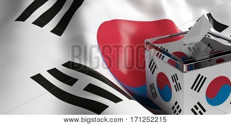 Ballot Box On South Korea Flag Background, 3D Illustration