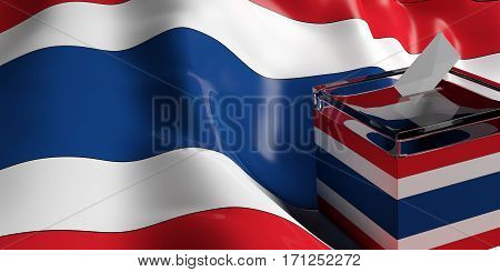 Ballot Box On Thailand Flag Background, 3D Illustration
