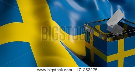 Ballot Box On Sweden Flag Background, 3D Illustration