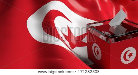 Ballot Box On Tunisia Flag Background, 3D Illustration