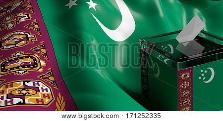 Ballot Box On Turkmenistan Flag Background, 3D Illustration