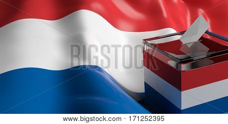Ballot Box On Netherlands Flag Background, 3D Illustration
