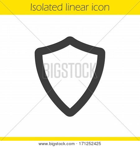 Shield linear icon. Thick line illustration. Protection contour symbol. Vector isolated outline drawing