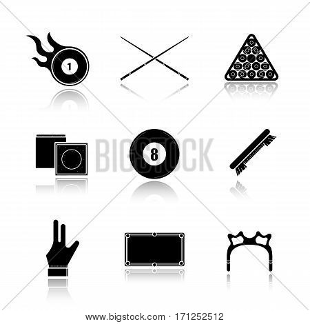Billiard drop shadow black icons set. Pool ball rack, cues, brush, glove, eight ball, chalk, table, rest head, burning ball. Isolated vector illustrations