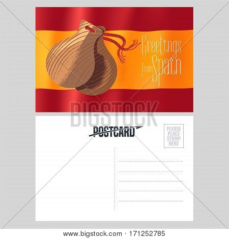 Spanish castanets vector postcard template. Double sided with text field for greeting. Design element on background of Spanish flag