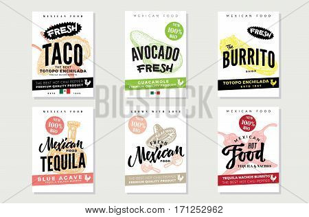 Sketch mexican food posters with traditional products meals elements of national cuisine and culture vector illustration