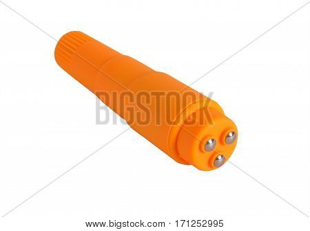 Orange electric masseur isolated on a white background