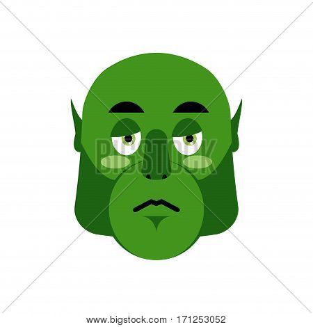 Ogre Sad Emoji. Goblin Sorrowful Emotion Isolated. Green Monster Troll Face