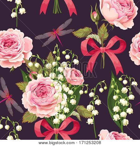 Lily of the valley and roses vector seamless background