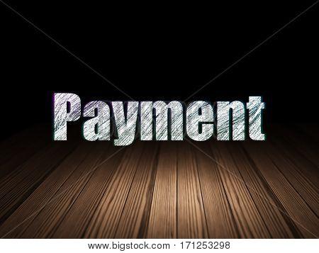 Money concept: Glowing text Payment in grunge dark room with Wooden Floor, black background