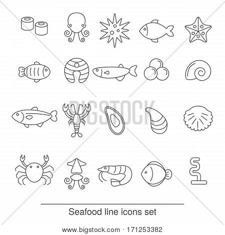 Seafood line icons set. Collection seafood icons in thin line style.