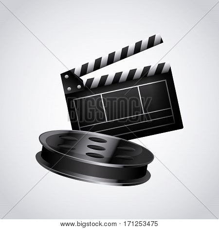 Clapboard and reel tape over white background. colorful design. vector illustration